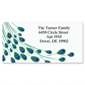Peacock Luster  Border Address Labels
