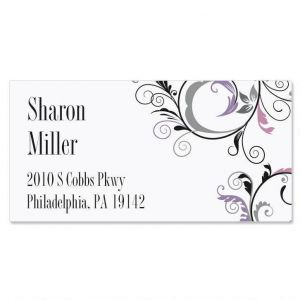Black and Grey Fantasy Border Address Labels