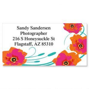 Orange Poppy Border Address Labels