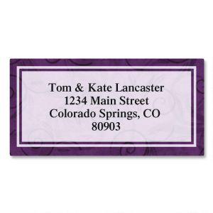 Purple Scroll Border Address Labels