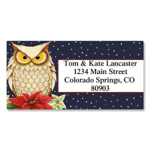 Winter Owl Border Address Labels