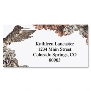 Hummingbird Garden Border Address Labels
