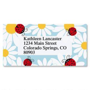 Ladybug Daisy Border Address Labels