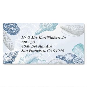 Seashells Border Address Labels