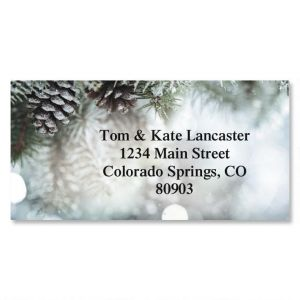Snowy Pine Border Address Labels