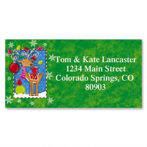 Reindeer Whimsy Border Address Labels