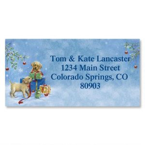Puppy Presents Border Address Labels