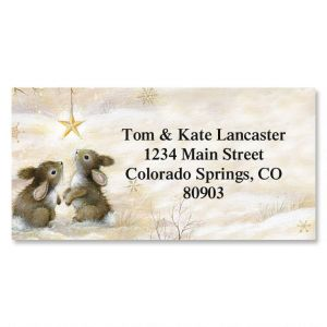 Snow Bunnies Border Address Labels