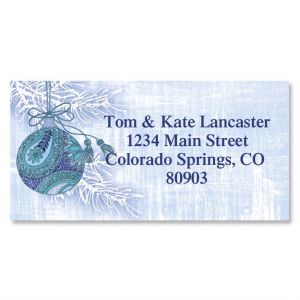Blue Paisley Border Address Labels
