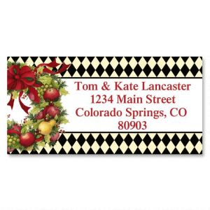 Harlequin Wreath Border Address Labels