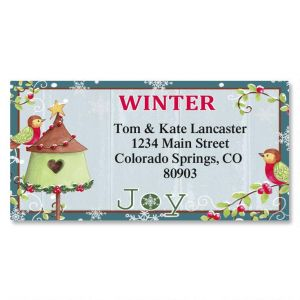 Festive Birdhouse Border Address Labels