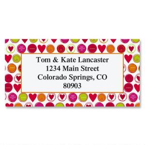 Circled Hearts Border Address Labels
