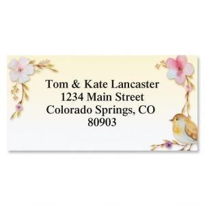 Pondering Bird Border Address Labels