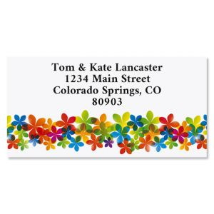 Blooming Color Border Return Address Labels