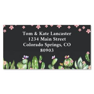 Blooming Cactus Border Return Address Labels