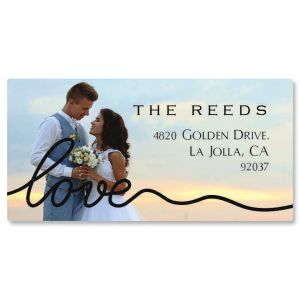 Personalized Love Black Caption Border Photo Address Label