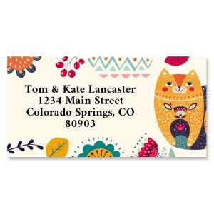 Boho Kitty Border Return Address Labels