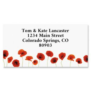 Red Poppies Border Return Address Labels