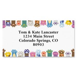 Cat Paws Border Return Address Labels