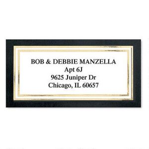 Black & Gold Foil Border Return Address Labels