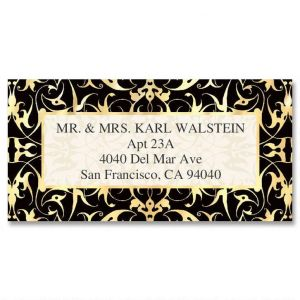 Black Filigree  Foil Border Address Labels
