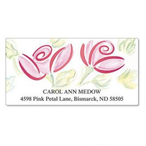 Watercolor Rose  Foil Deluxe Address Labels