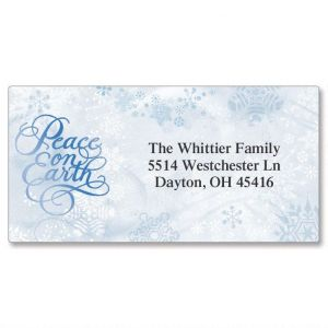 Peace on Earth  Foil Border Address Labels