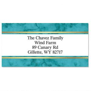 Turquoise & Gold Foil Border Address Labels