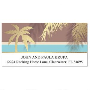 Golden Palms Foil Deluxe Address Labels
