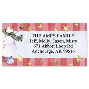 Dancing Snowman  Foil Border Address Labels
