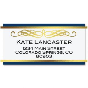 Sapphire Foil Border Address Labels
