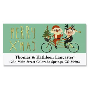 Santa Cruise Foil Deluxe Return Address Labels