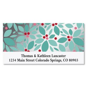 Holly Berries Deluxe Foil Christmas Address Labels