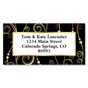 Fantastic Swirl Foil Border Return Address Labels