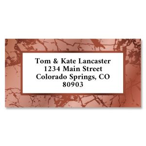 Pink & Copper Marble Foil Border Return Address Labels