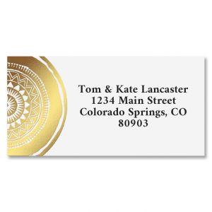Mandala Gold Foil Border Return Address Labels