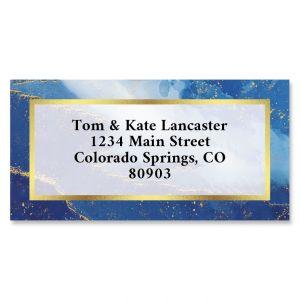 Blue Agate Foil Border Return Address Labels
