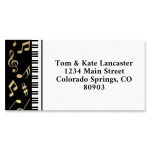 Golden Music Foil Border Return Address Labels