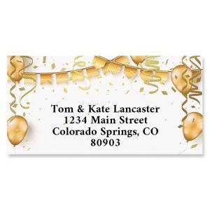 Golden Birthday Foil Border Return Address Labels