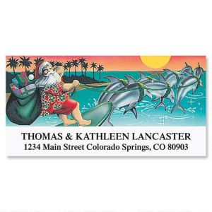 Surfin' Santa  Deluxe Address Labels