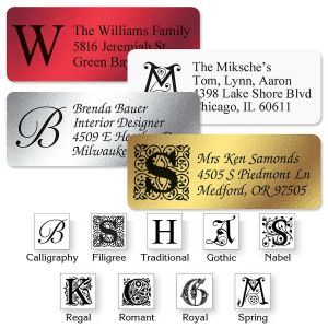 Monogram Foil Address Labels  (4 Colors) - 96 Count Sheets