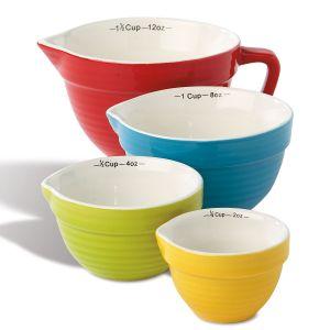 Multicolored Stoneware Measuring Cups