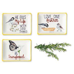 Stoneware Trinket Trays with Inspirational Sayings