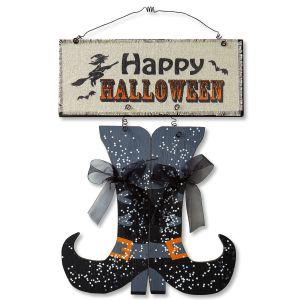Happy Halloween Boots Plaque
