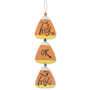 Trick or Treat Candy Corn Hanging Plaque - Sold Out