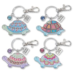 Think Happy Thoughts Turtle Keychain