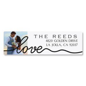 Love Classic Black Photo Return Address Label