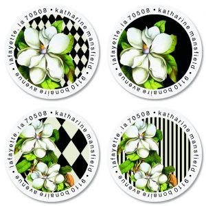 Magnolia Nights Round Return Address Labels (4 Designs)