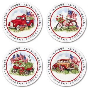 American Heritage Round Return Address Labels (4 Designs)