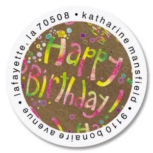Brighten Up Birthday Round Return Address Labels